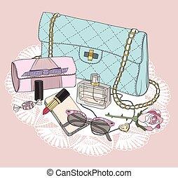 가방, 구성, 색안경, essentials., 향수, 배경, 구두, jewelery, flowers., 유행