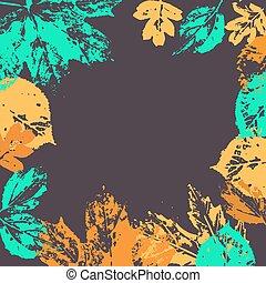 가을의 잎, 벡터, frame.