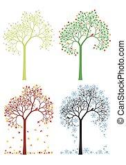 가을, 겨울, 나무, 봄, 여름
