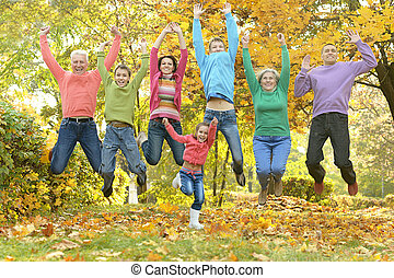 가을, 공원, 가족, 몸을 나른하게 하는