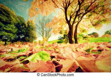 가을, 공원, 그림, 조경술을 써서 녹화하다, 가을