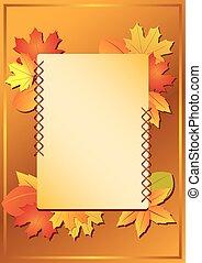 가을, 구조, 벡터, -, 잎