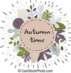 가을, 구조, 벡터, leaves.