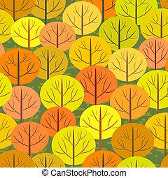 가을, 떼어내다, 숲, 배경, seamless