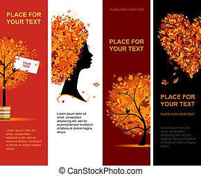 가을, 배너, 디자인, 너의, 수직선
