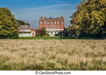 가을, 영국, 관목이 무성한, 집, 런던