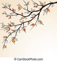 가을, branch., 나무