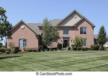 가정, 벽돌, 사치, 교외