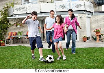 가족, 축구, 그들, 뒤뜰, 노는 것, 행복하다