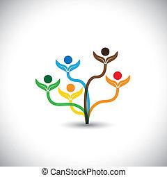 가족, eco, -, concept., 나무, 벡터, 팀웍, 아이콘