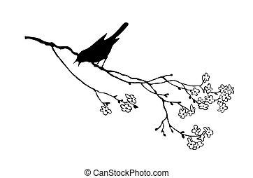 가지, 나무, 새, 벡터, 실루엣