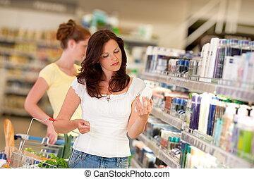 갈색의, 쇼핑하고 있는 여성, 시리즈, -, 머리, 화장품 부문