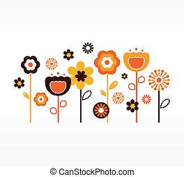 갈색의, ), (, 수집, retro, 봄, 오렌지는 꽃이 핀다