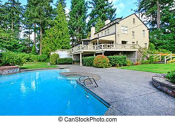 갈색의, 정원, 여름의 집, 큰, 외부, 웅덩이, 수영