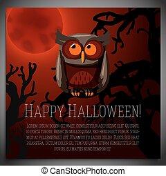 갈색의, 착석, 나무, halloween, 삽화, 기치, 벡터, 기어 돌아다니는, 크게, branch., 올빼미