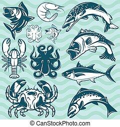 갑각류, fish, 선박, 세트, 바다에서는 서투른