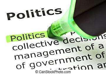 강조된다, 'politics', 녹색
