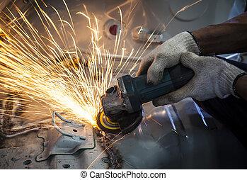 강철, 사용, 산업의, 일, 불, 공업 노동자, 손, 주제, 절단, 균열, 제조의, 도구
