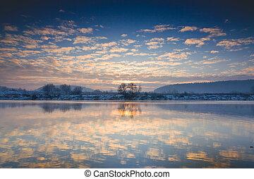 강, 겨울, 해돋이, 위의