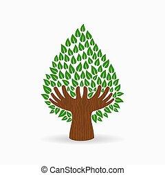 개념, 나무, 삽화, 손, 녹색, 인간