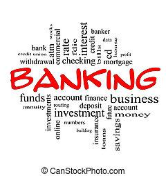 개념, 낱말, &, 은행업의, 까만 빨강, 구름