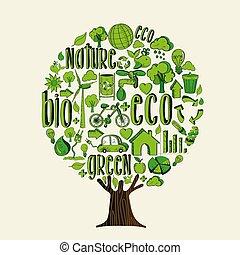 개념, 도움, eco, 나무, 환경, 녹색