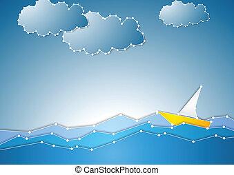 개념, 보이는 상태, 바다, 배경, 개략도