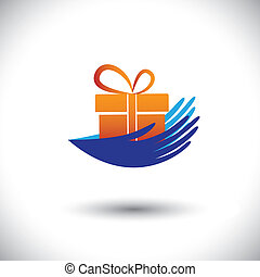 개념, 선물, graphic-, 여성의 것, icon(symbol), 벡터, 손