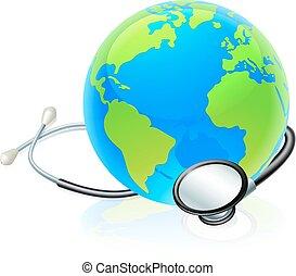 개념, 세계 지구, 건강, 지구, 청진기