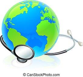 개념, 세계 지구, 청진기, 지구, 건강