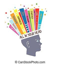 개념, 심리학, 생각, 긍정적인, 삽화, 감각, 낙천주의의
