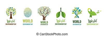 개념, 일, 가다, 환경, design., 녹색, 벡터, 삽화, 세계