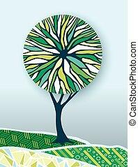 개념, 자연, 나무, 삽화, 환경, 녹색
