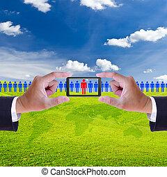 개념, 자원, 변하기 쉬운, 손, 신병 모집, 오른쪽, 남자