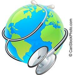 개념, 지구, 건강, 세계, 청진기, 일, 지구