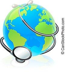 개념, 지구, 건강, 세계, 청진기, 지구