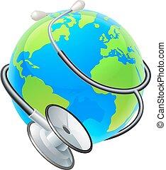 개념, 지구, 건강, 청진기, 지구, 세계