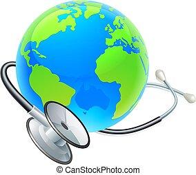 개념, 지구, 청진기, 세계, 건강, 일, 지구