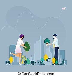 개념, city., 녹색, 생태학