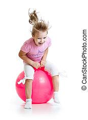 거대한, 고립된, 뛰는 것, 아이, 백색, ball., 행복하다