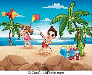 거의, 아이들, 연, 만화, 바닷가, 노는 것