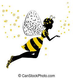 거의, 요정, 소녀, 꿀벌
