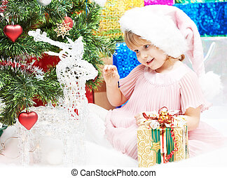 거의, 크리스마스 선물, 년, 새로운, 소녀, 또는