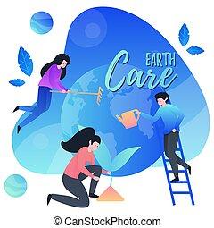 걱정, earth., 우리, 사람, planet., 행복하다, 모아두다, 사랑, 약, day., 지구