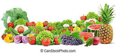 건강한, 신선한 야채, 다채로운, 과일