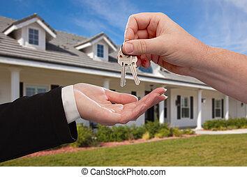 건네는 것, 키, 집, 위의, 새로운, 정면, 가정