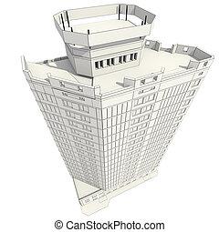 건물 건설, 사무실, 3차원