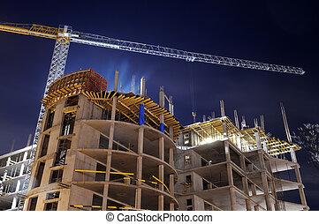 건물 건설, 위치, 밤