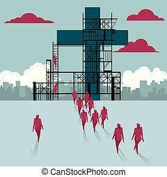 건물, 그룹, 십자가, 은 걸었다, 사이트., 실업가, 억압되어, construction.