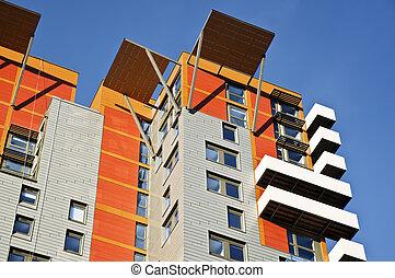 건물, 새로운, 아파트